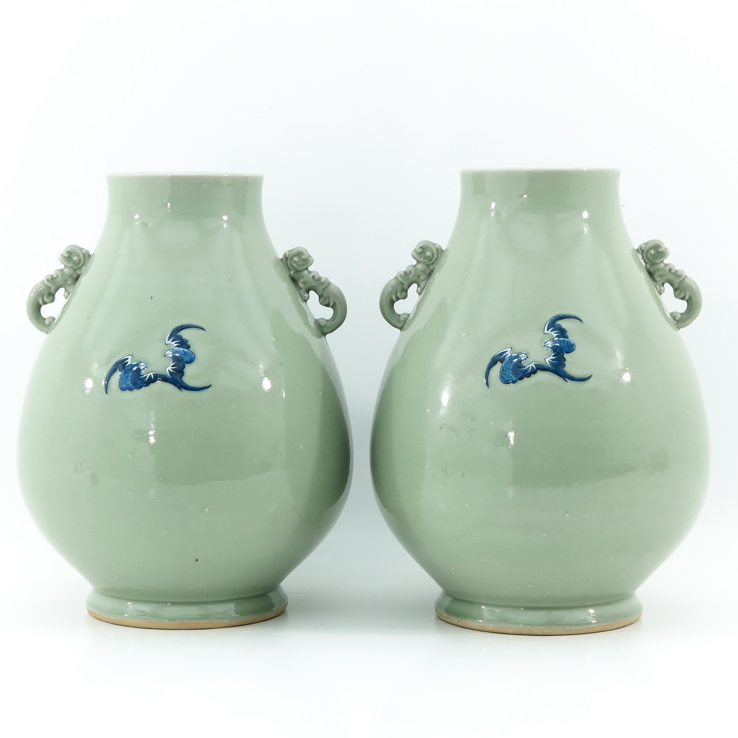 A Pair of Celadon and Blue Hu Vases - Image 3 of 10