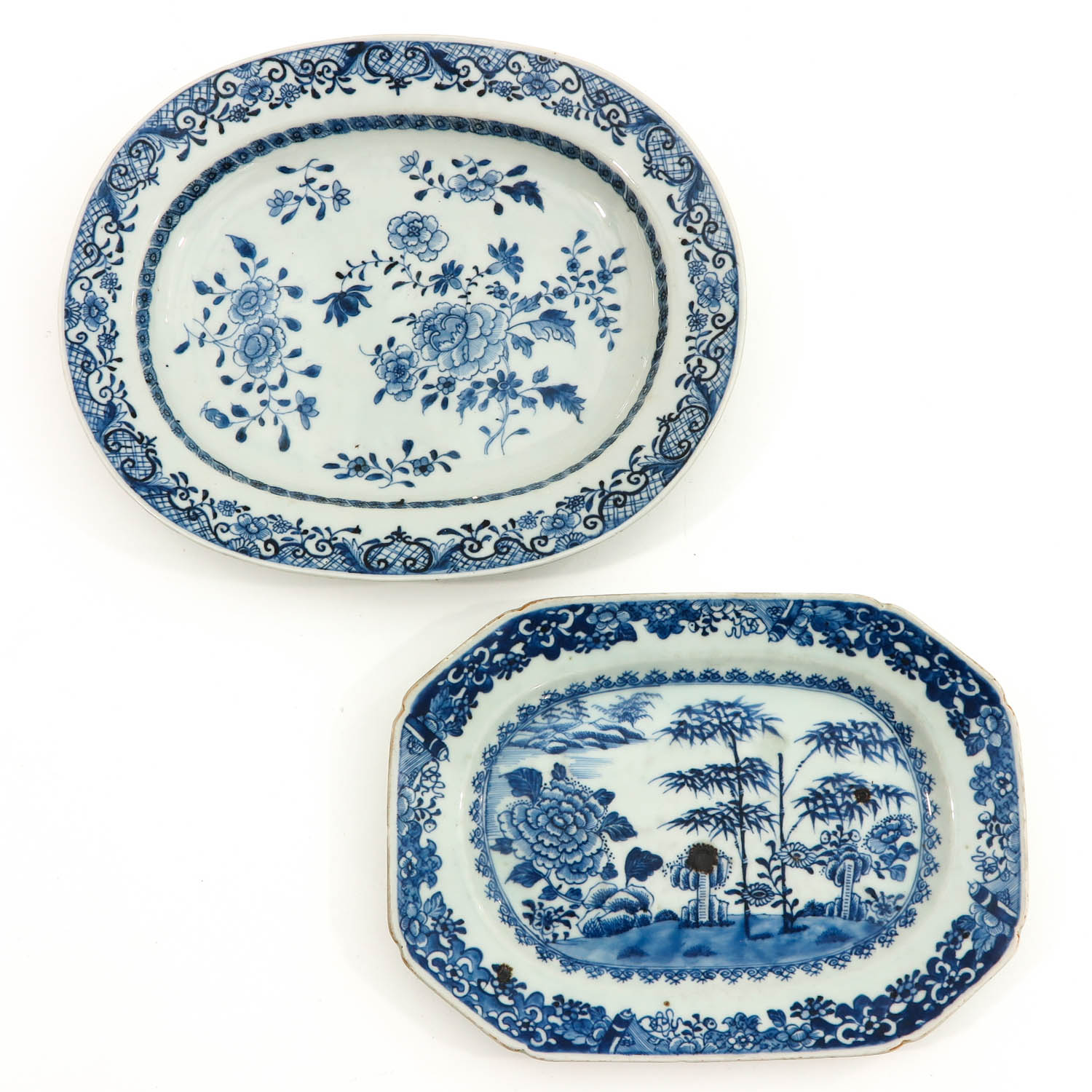 A Lot of 2 Blue and White Trays