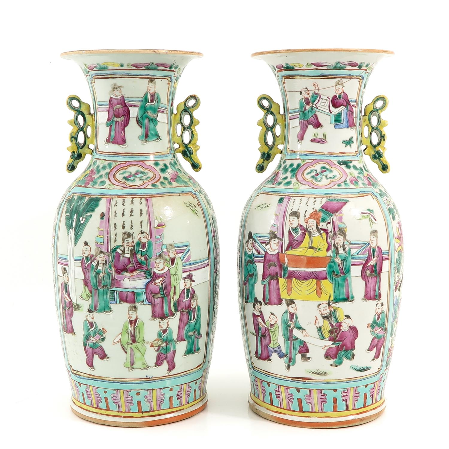 A Pair of Cantonese Vases - Image 3 of 9