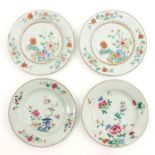 A Collection of 4 Famille Rose Plates