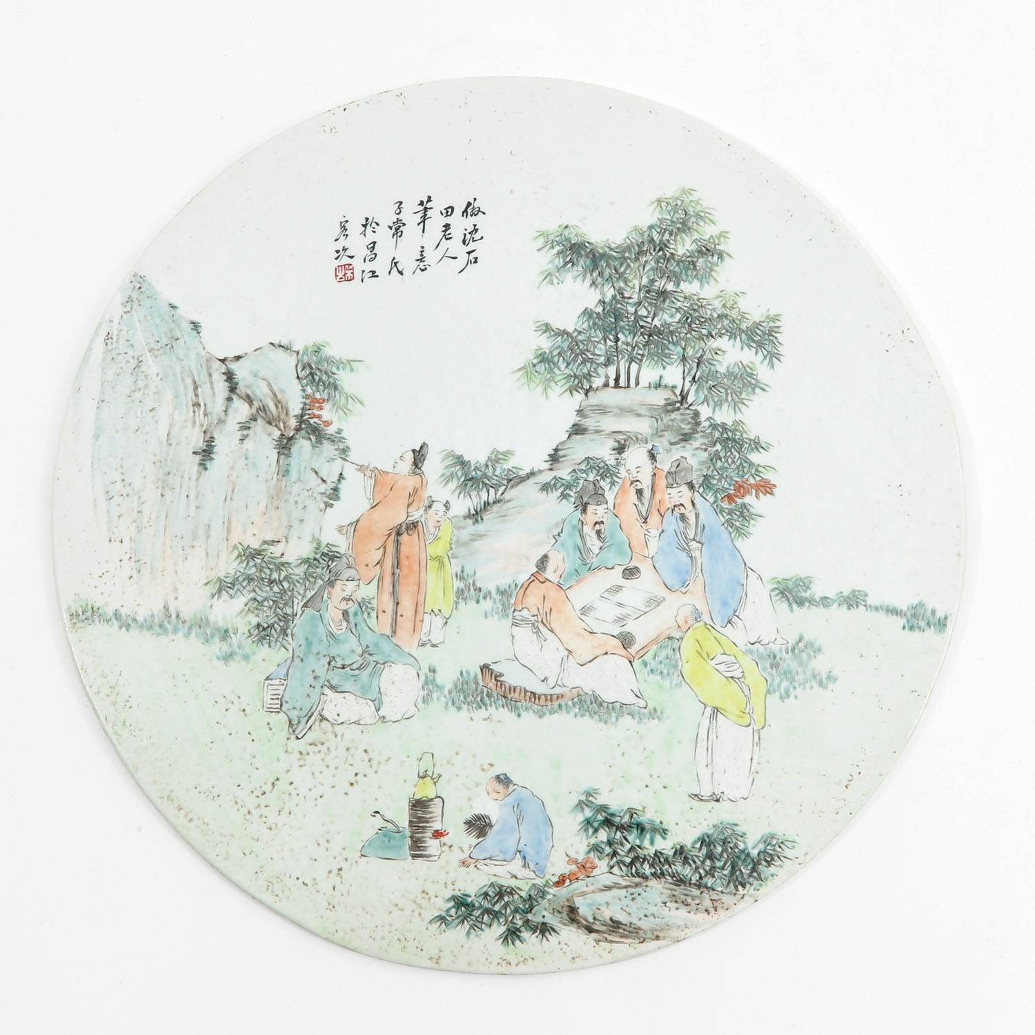 A Famille Rose Chinese Tile