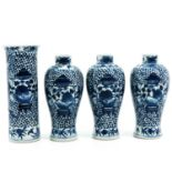 A Collection of 4 Garniture Vases