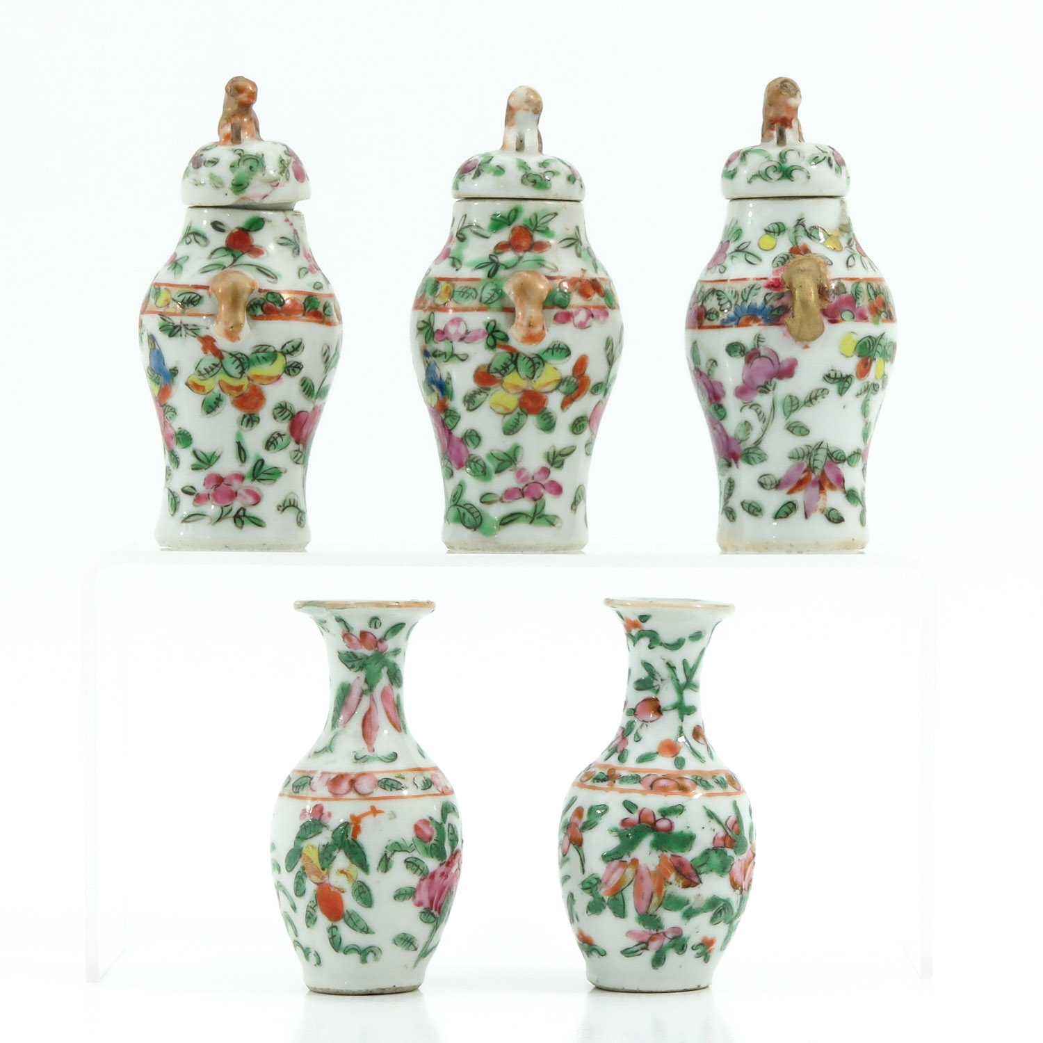 A Cantonese Miniature Garniture Set - Image 4 of 9