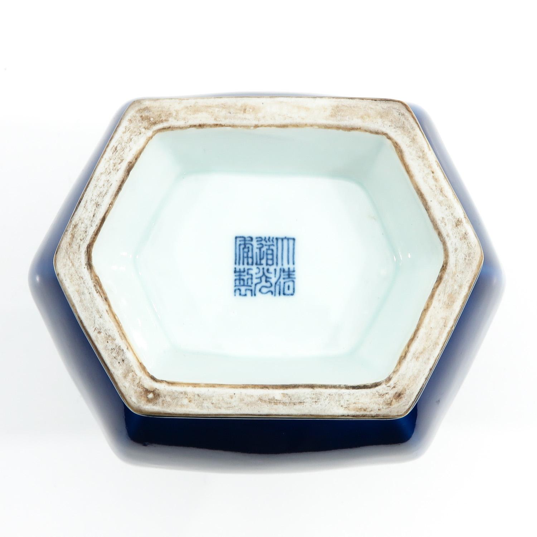 A Blue Glaze Hu Vase - Image 6 of 10