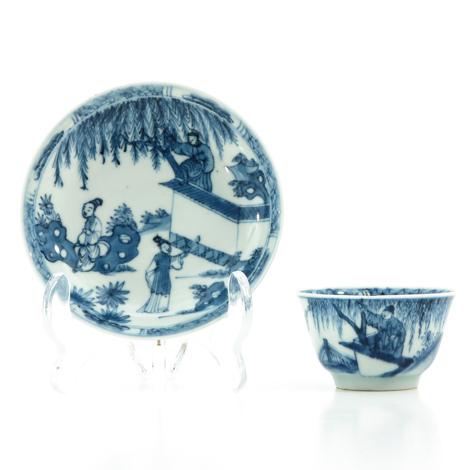 A Blue and White Cup and Saucer