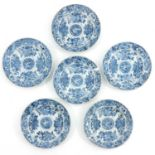 A Series of 6 Blue and White Plates