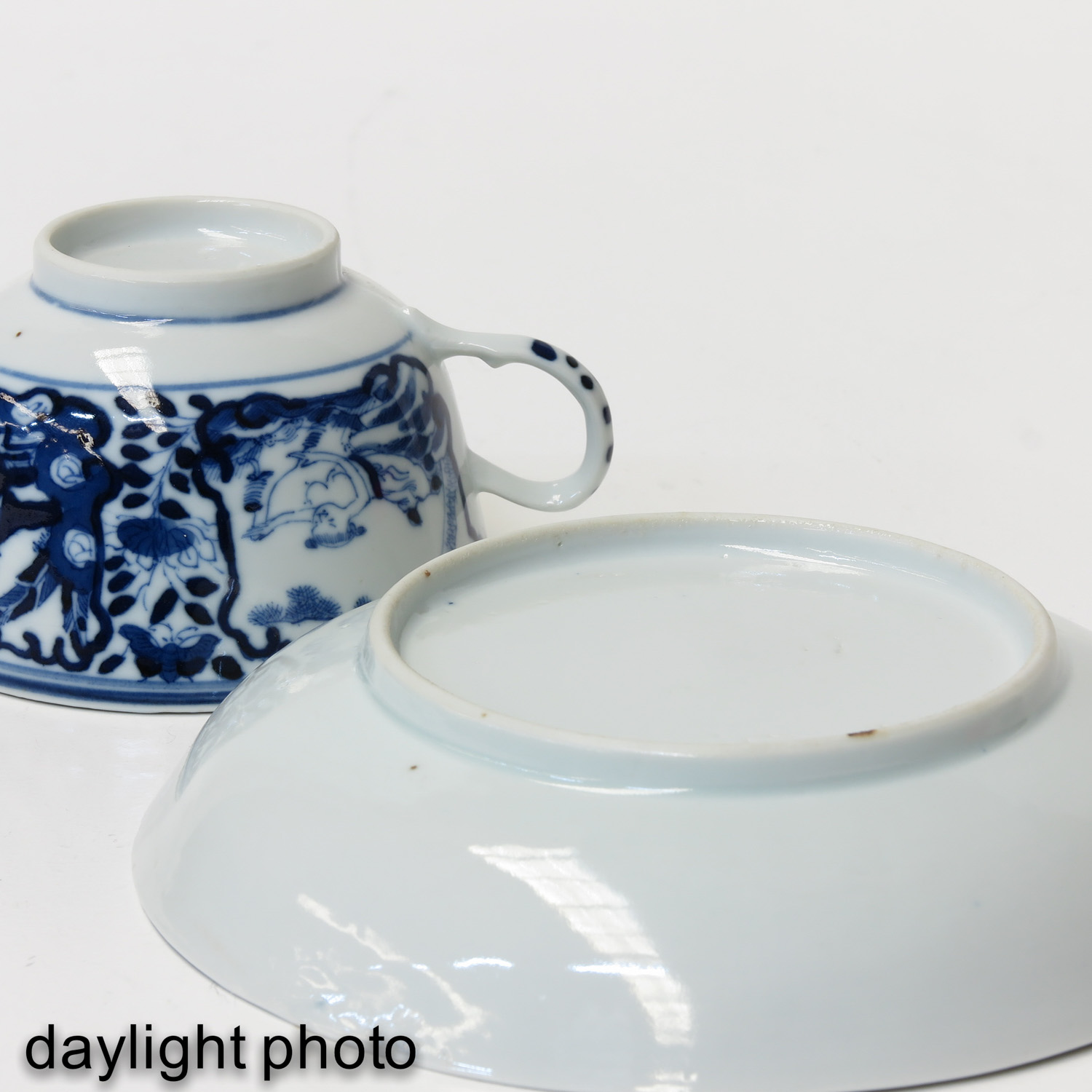 A Blue and White Cup and Saucer - Image 8 of 9