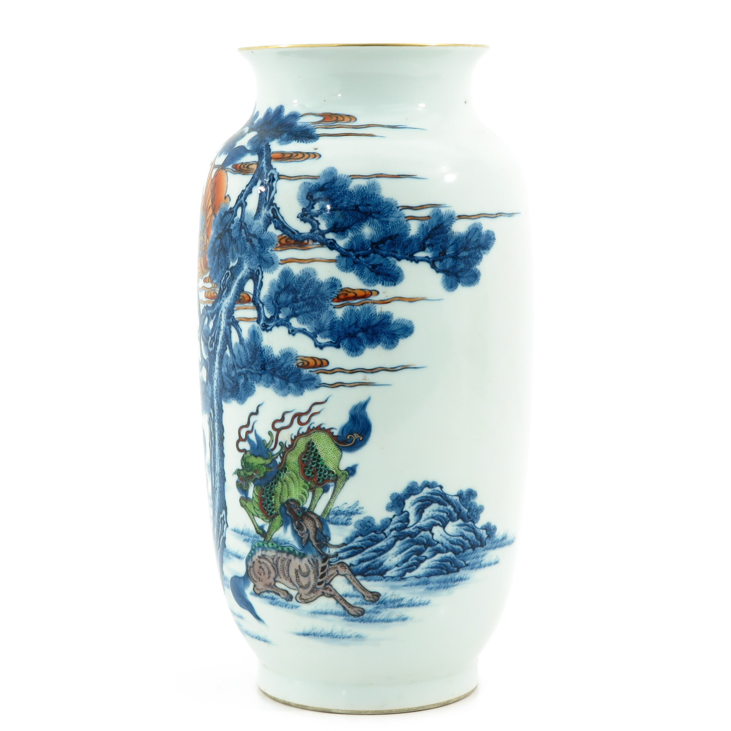 An Iron Red and Blue Decor Vase - Image 3 of 10