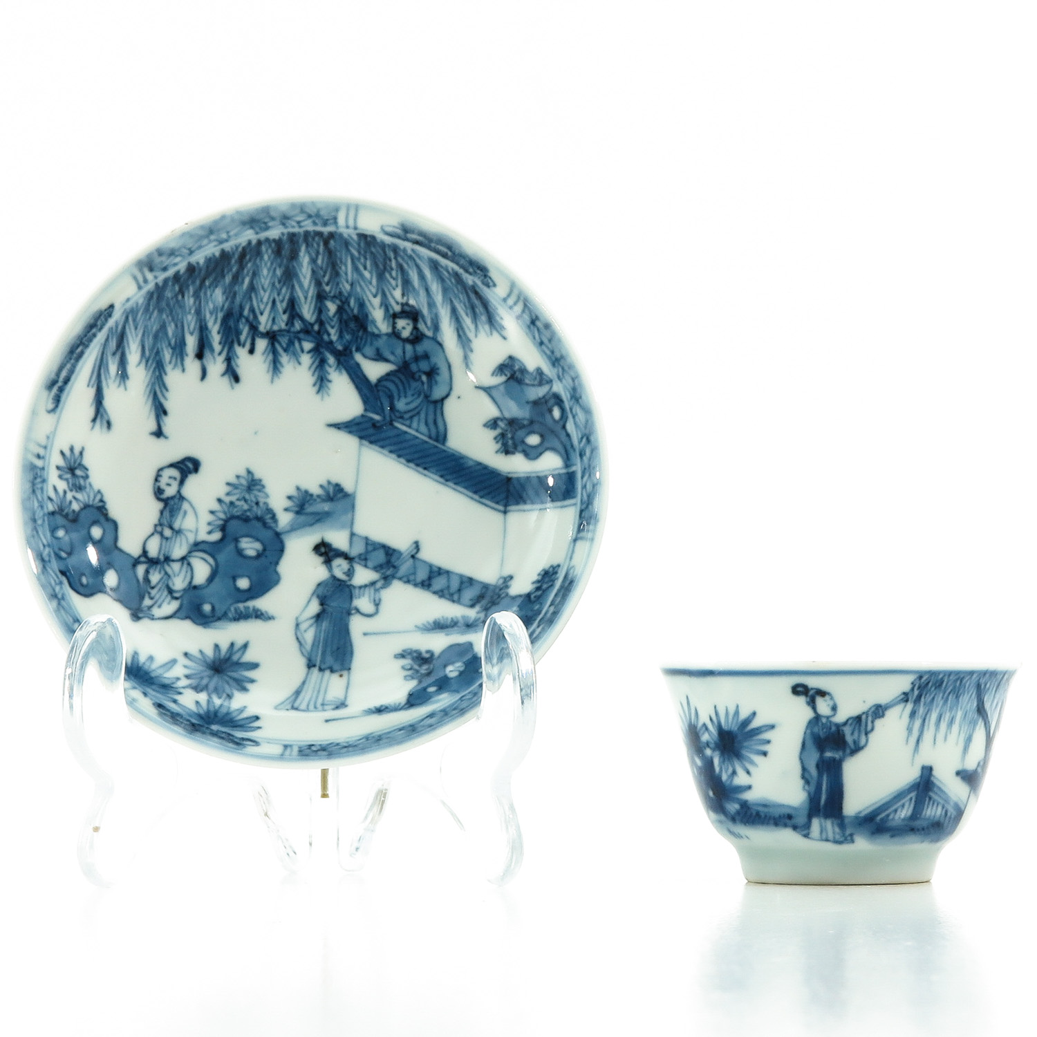 A Blue and White Cup and Saucer - Image 4 of 10
