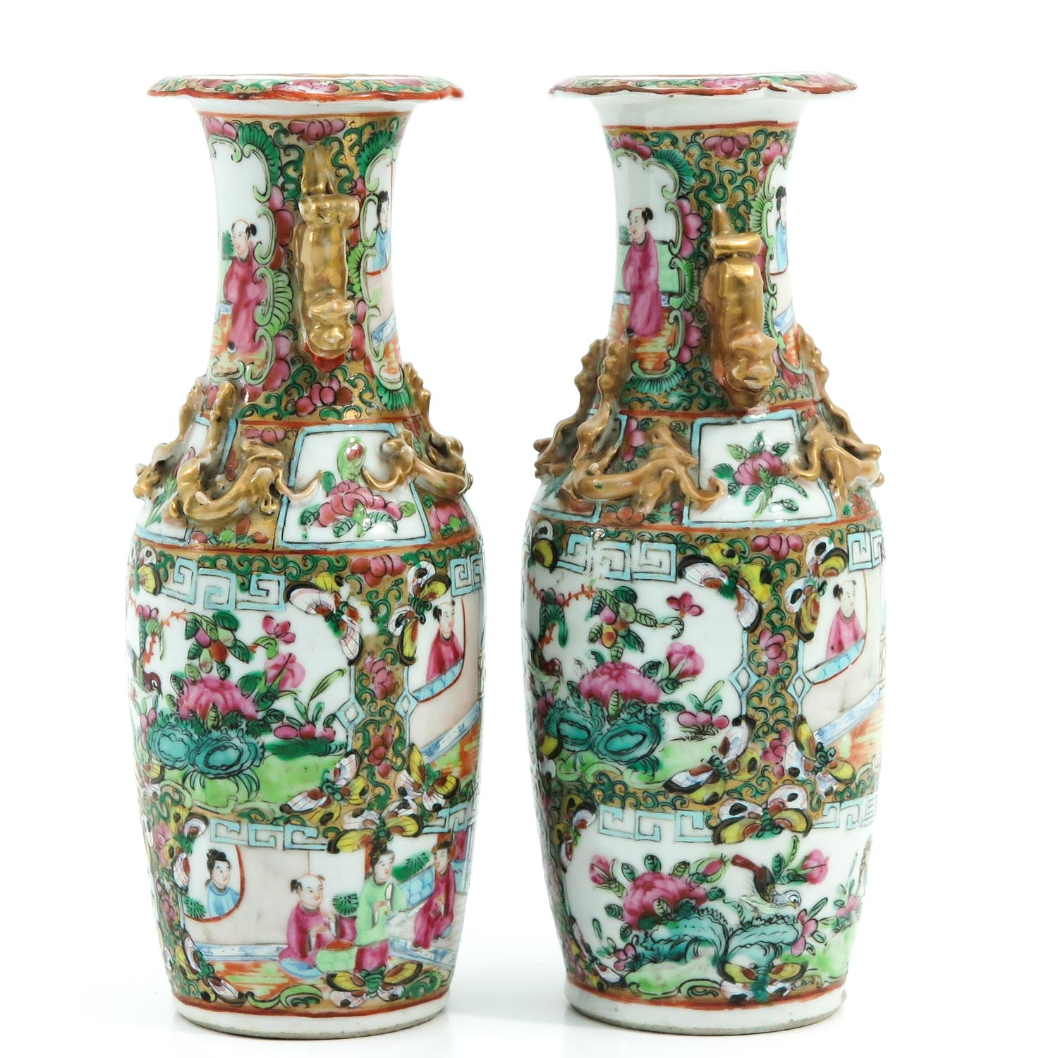 A Pair of Cantonese Vases - Image 4 of 9