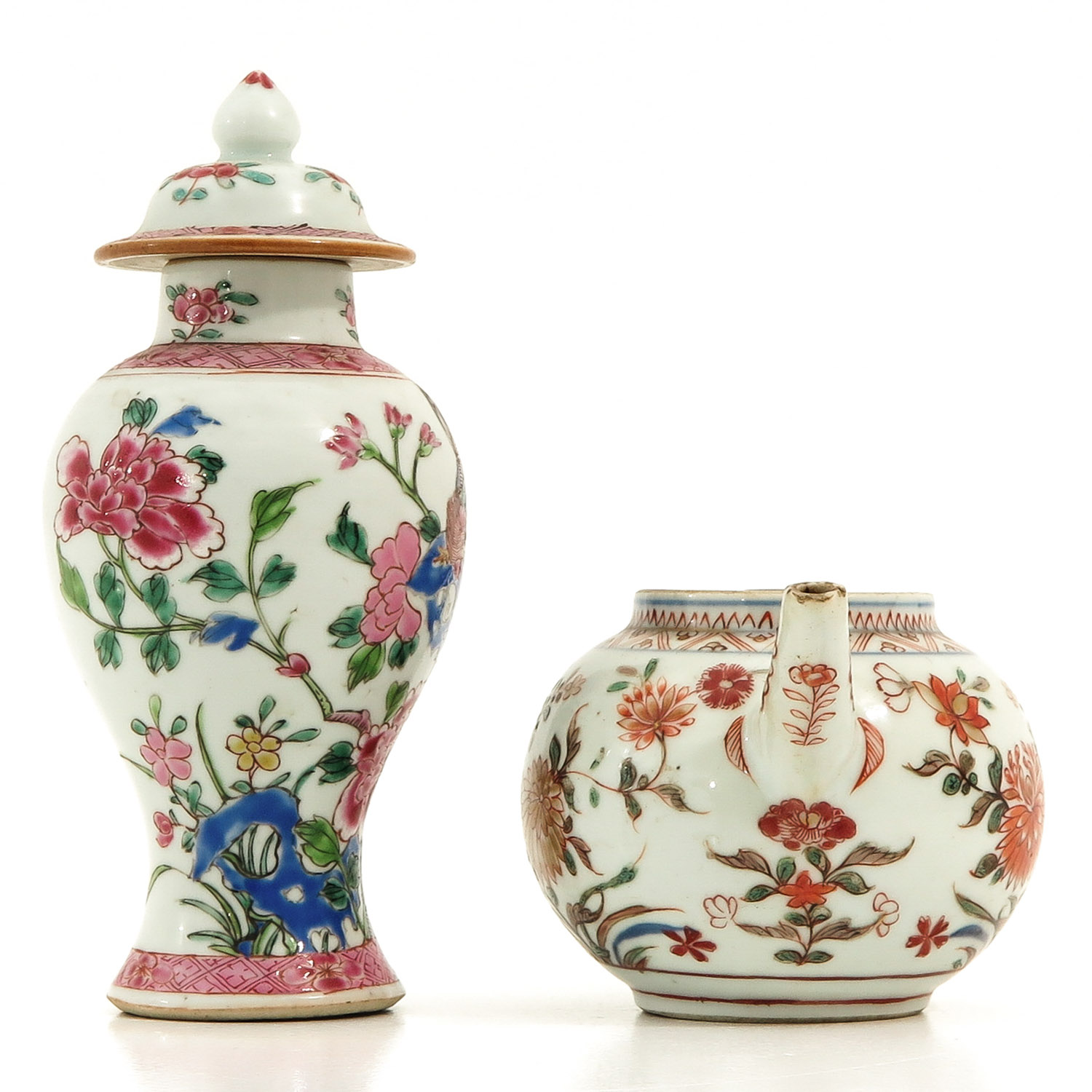 A Famille Rose Vase and Teapot - Image 4 of 9