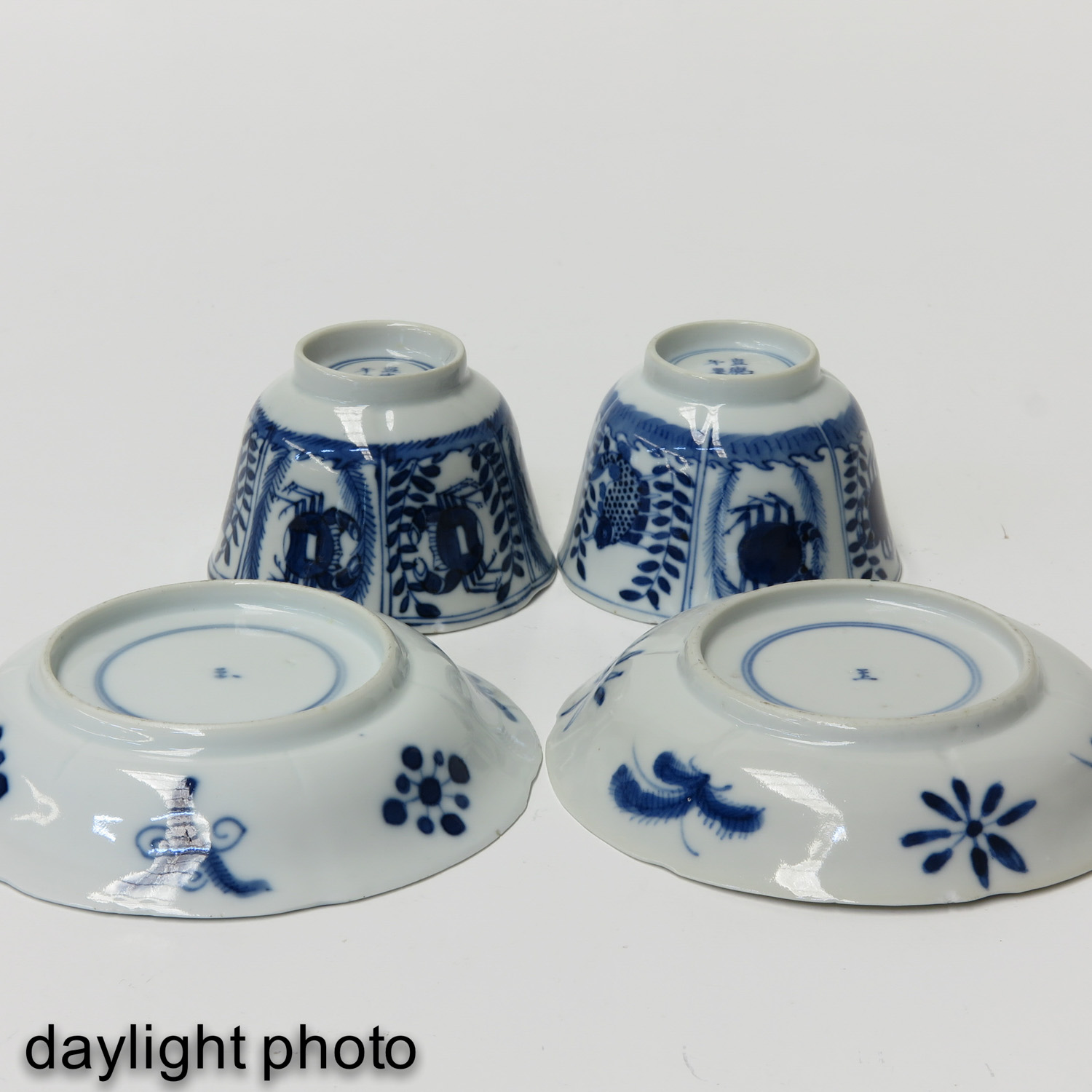 A Pair of Blue and White Cups and Saucers - Image 8 of 9