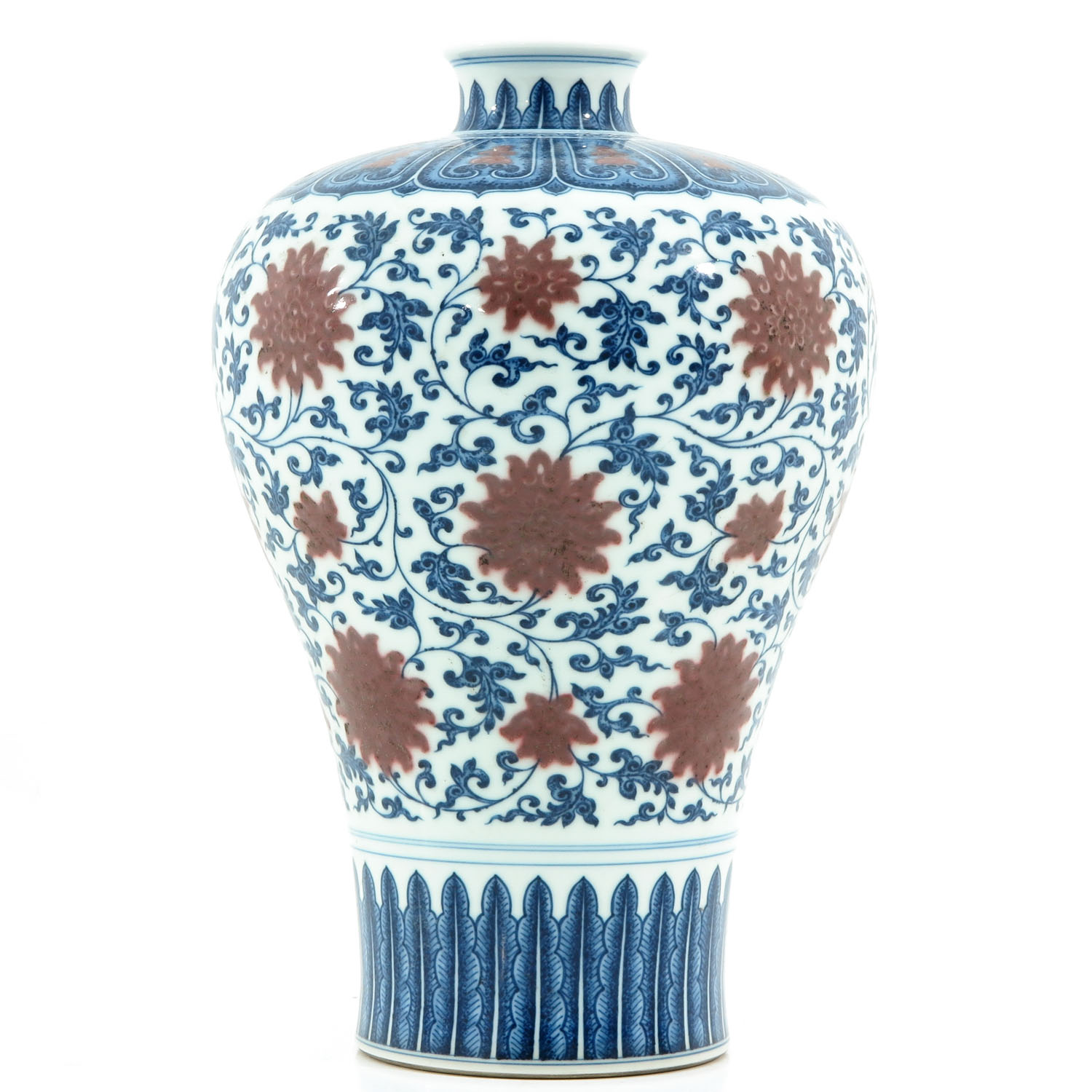 An Iron Red and Blue Decor Meiping Vase - Image 2 of 10