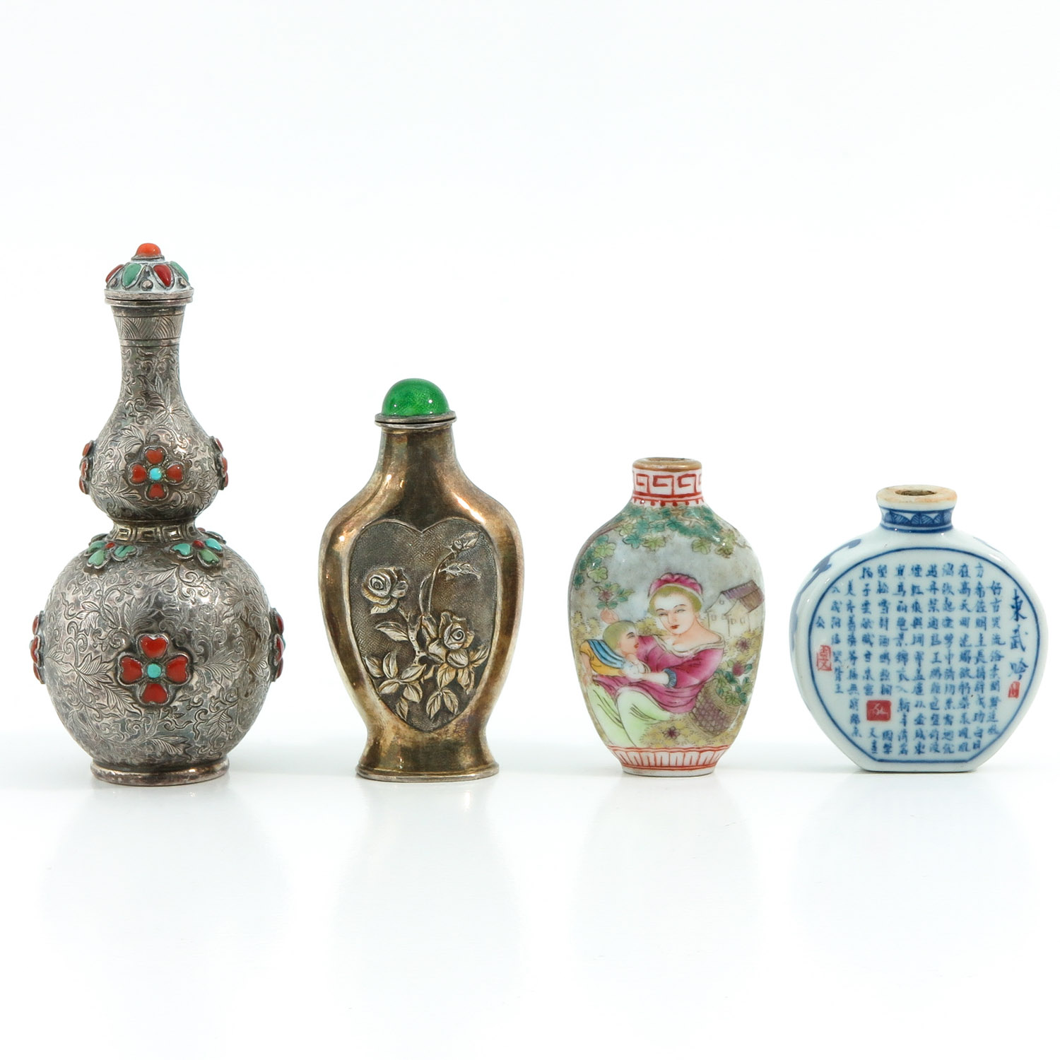 A Diverse Collection of 4 Snuff Bottles