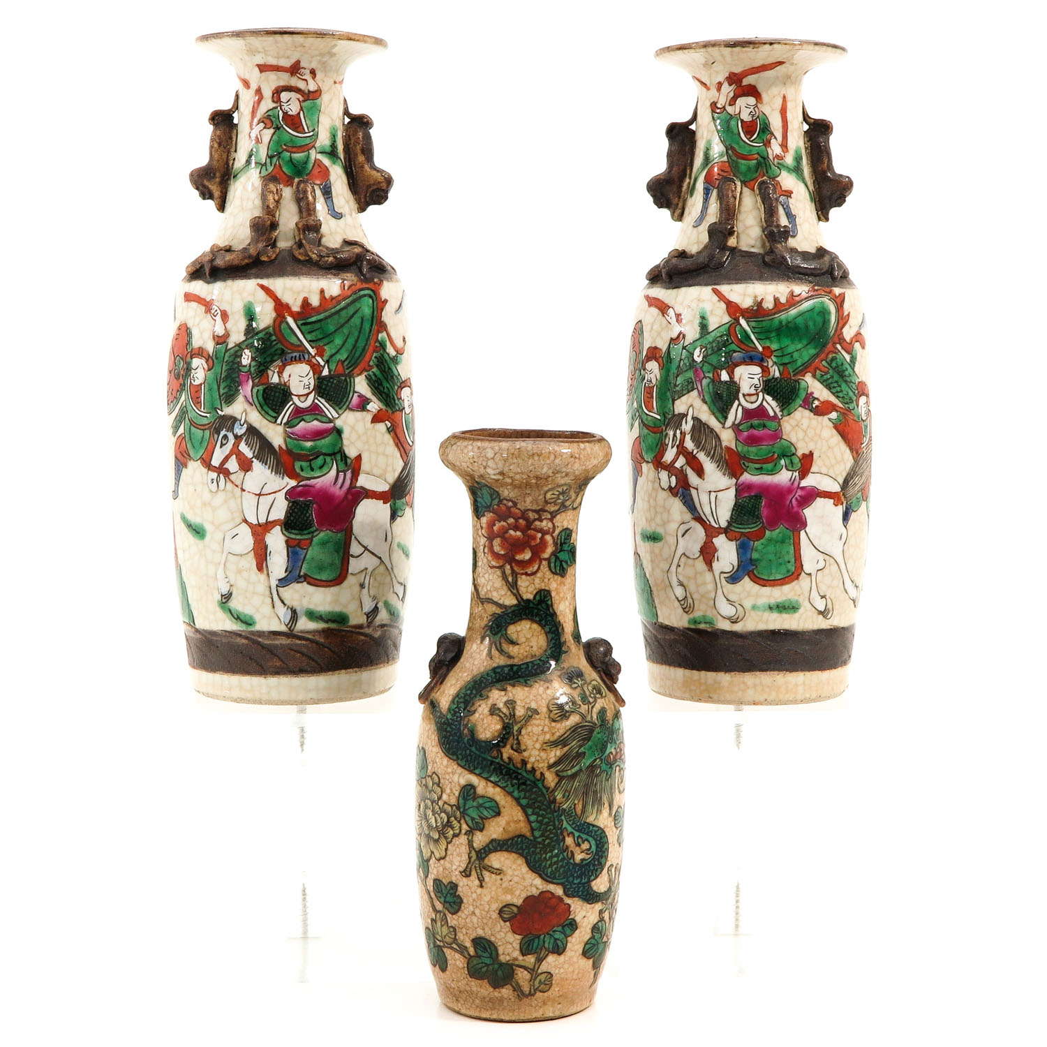 A Collection of 3 Nanking Vases - Image 3 of 9