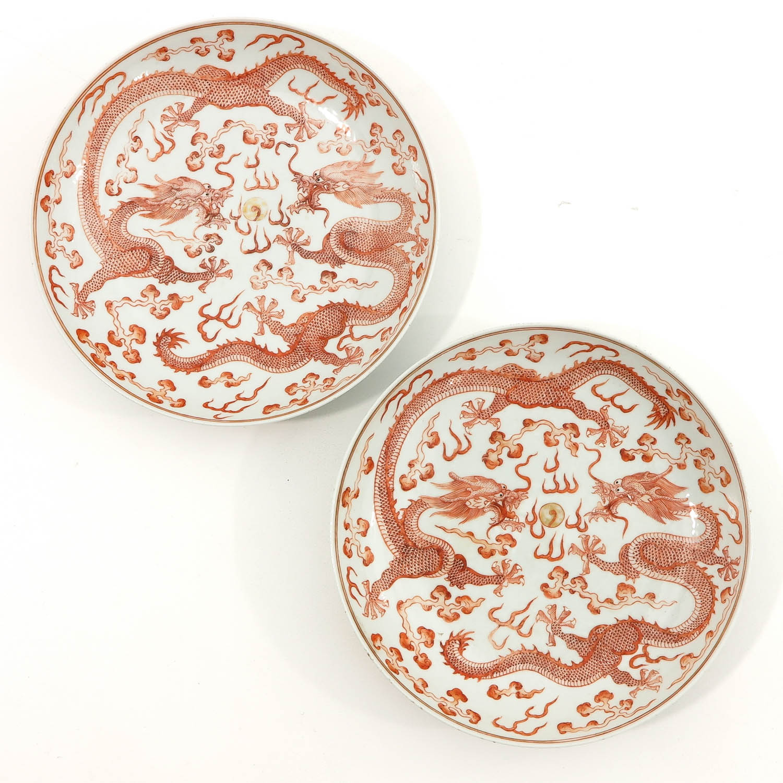 A Pair of Dragon Decor Plates