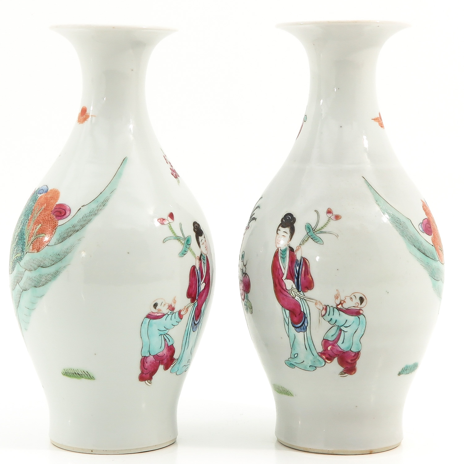 A Pair of Famille Rose Vases - Image 3 of 9