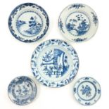 A Lot of 5 Blue and White Plates