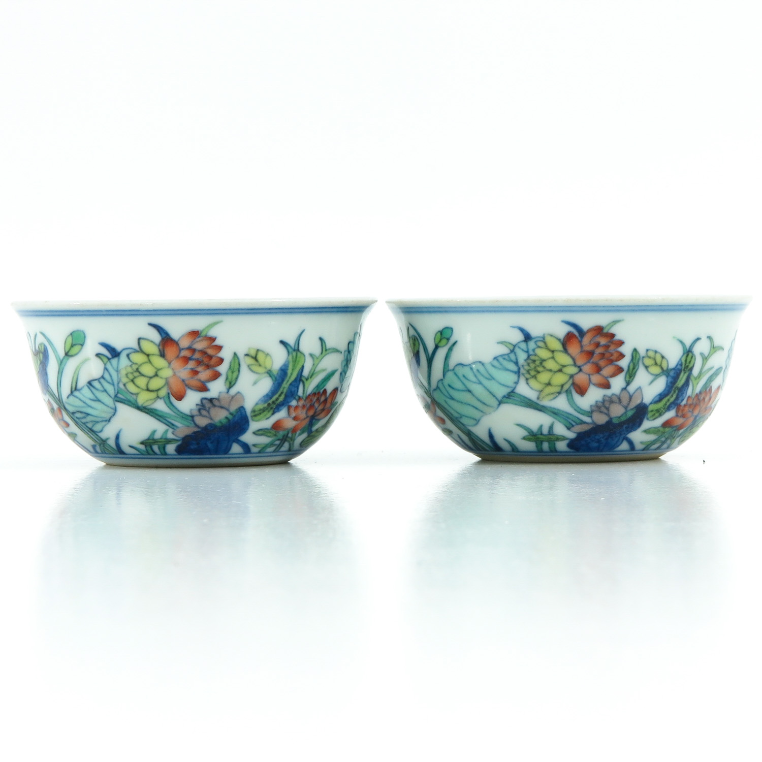 A Pair of Doucai Decor Cups - Image 2 of 10