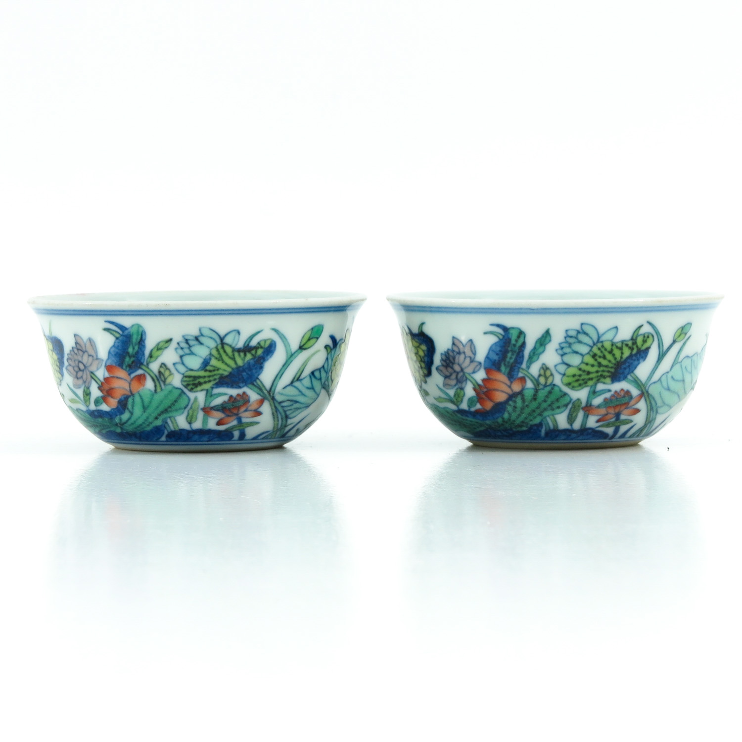 A Pair of Doucai Decor Cups