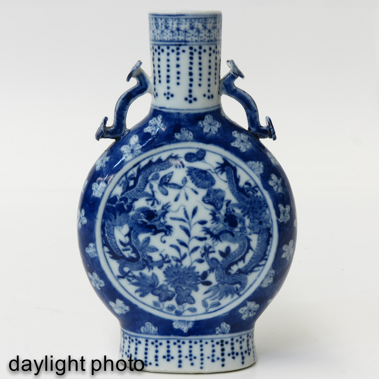A Blue and White Moon Bottle - Image 7 of 10
