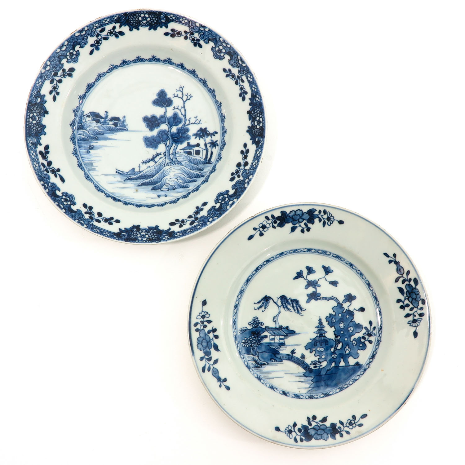 A Lot of 5 Blue and White Plates - Image 3 of 10