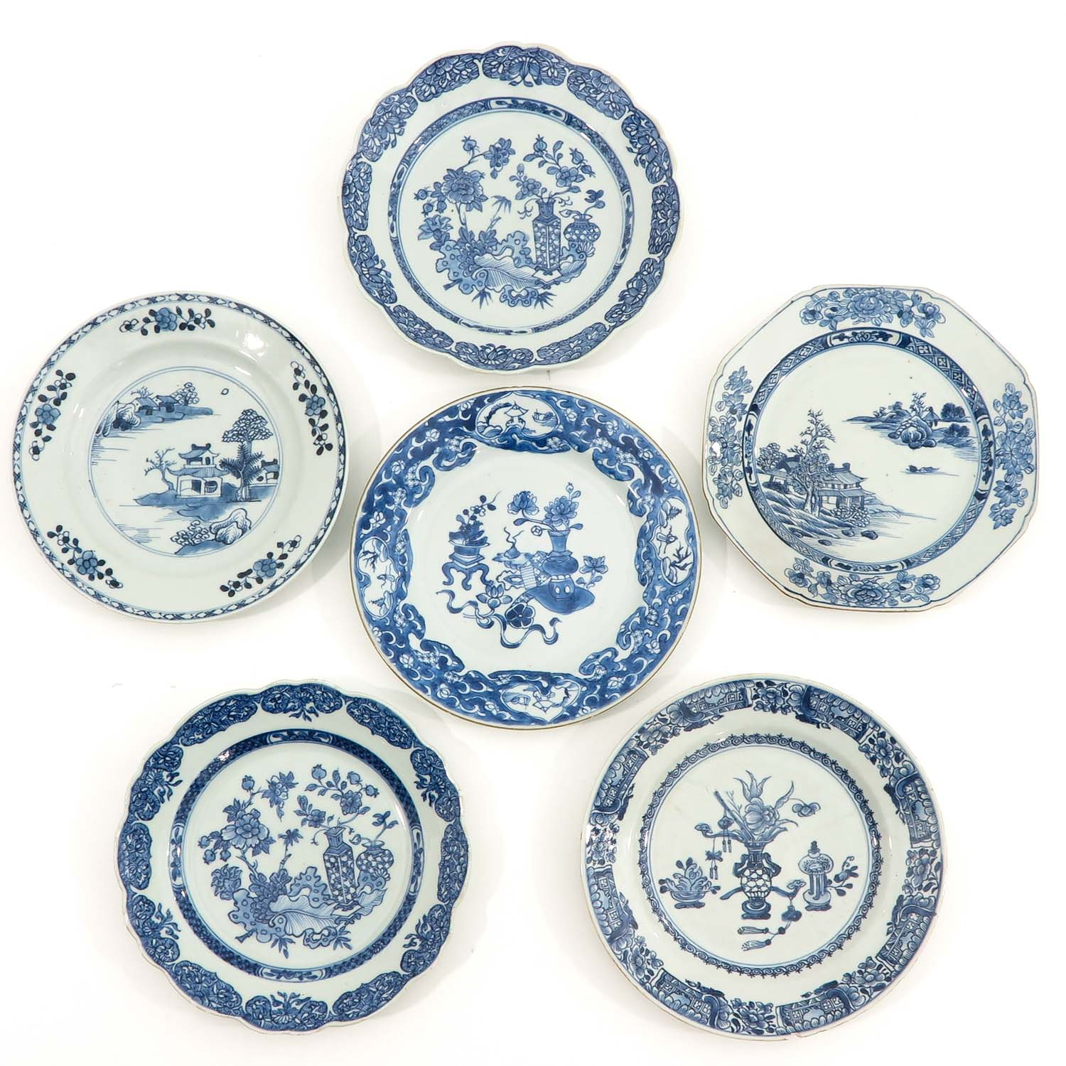 A Set of 6 Blue and White Plates
