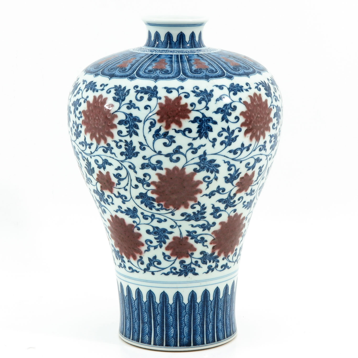 An Iron Red and Blue Decor Meiping Vase