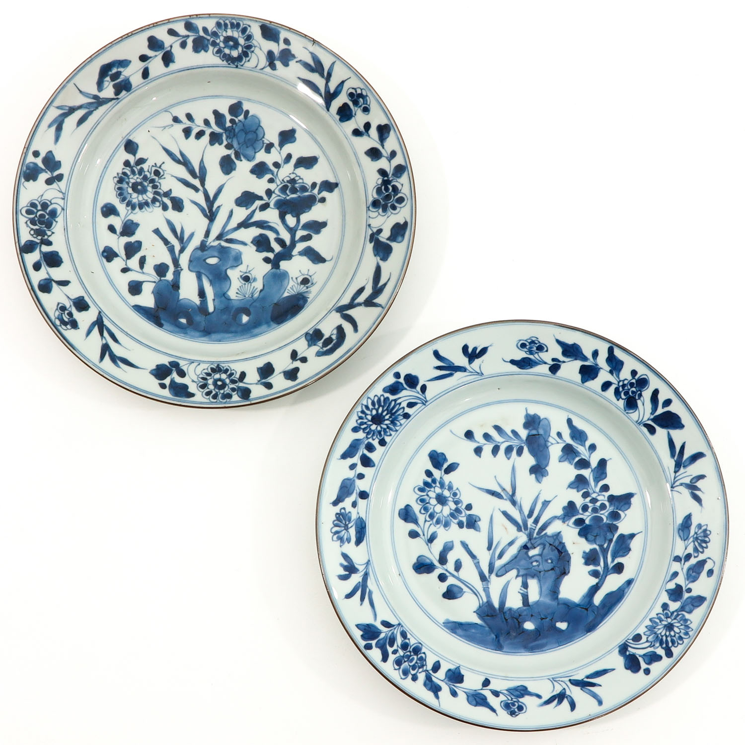 A Pair of Blue and White Plates