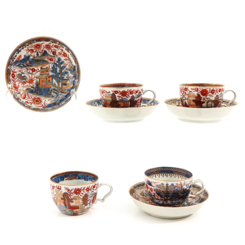 4 Imari Cups and Saucers