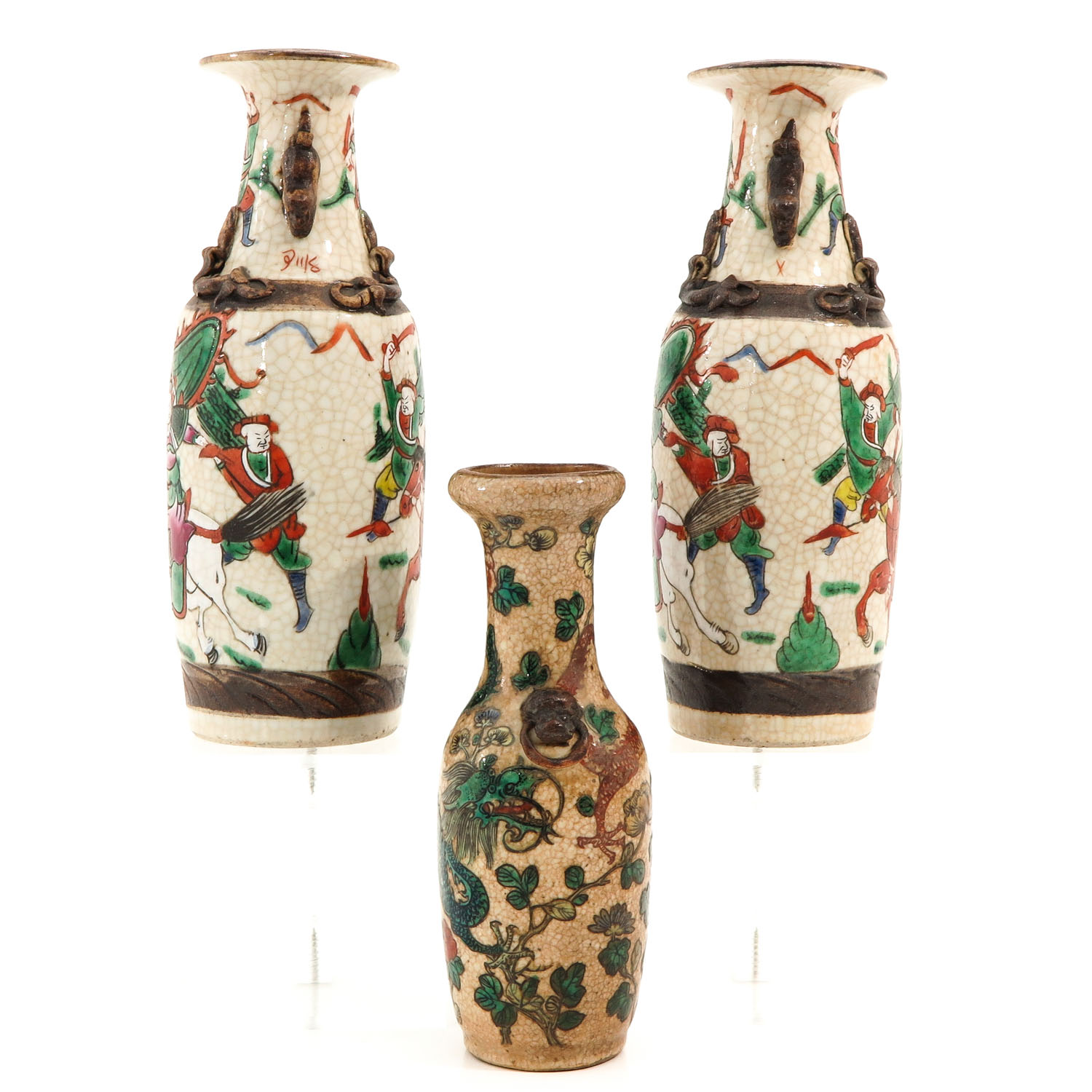 A Collection of 3 Nanking Vases - Image 4 of 9
