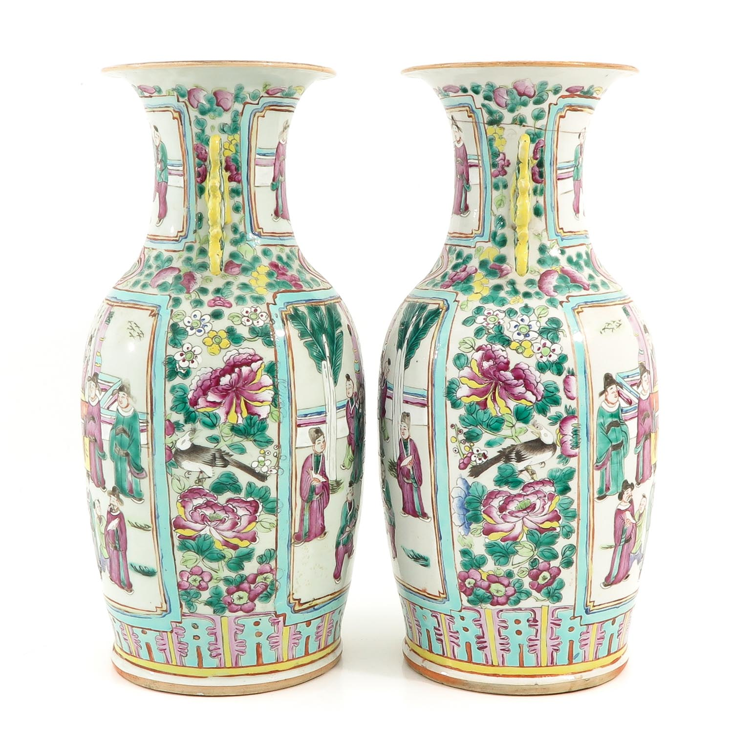 A Pair of Cantonese Vases - Image 2 of 9