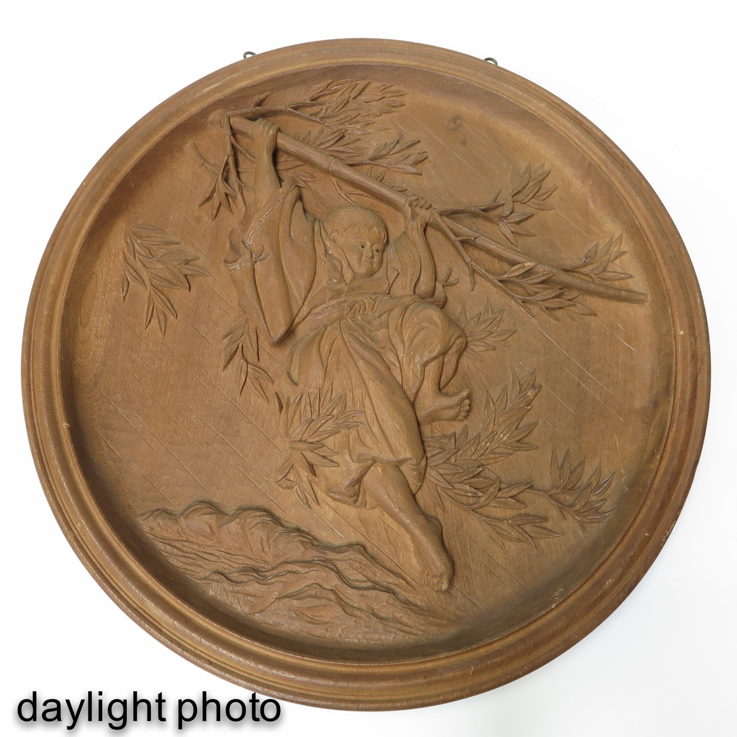 A Round Carved Wood Panel - Image 3 of 5