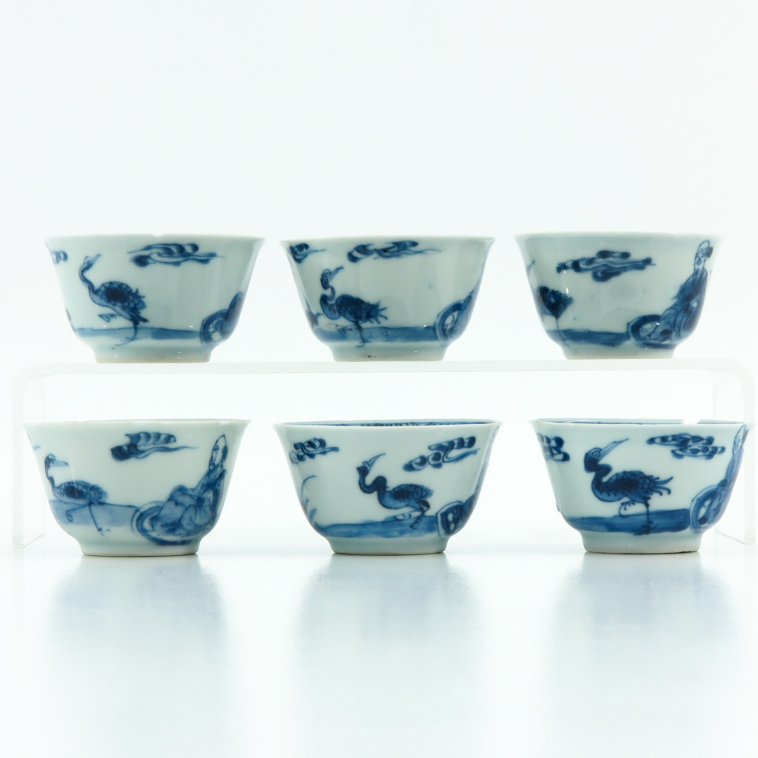 A Series of 6 Blue and White Cups - Image 4 of 9