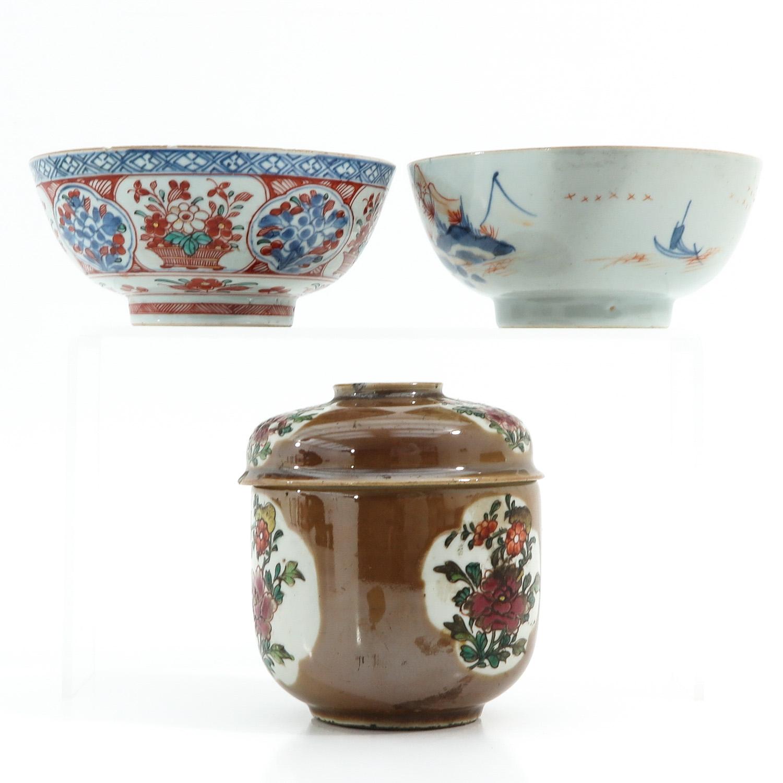 A Batavianware Jar and 2 Bowls - Image 2 of 9
