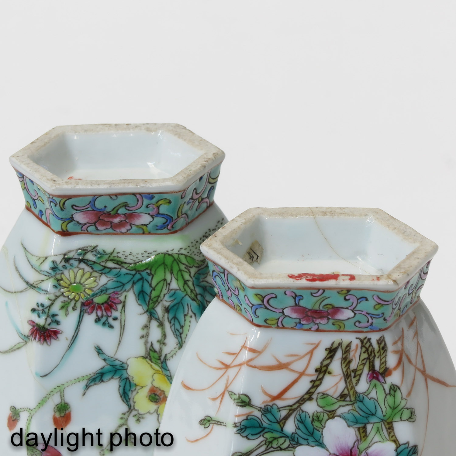 A Pair of Famille Rose Vases - Image 8 of 9