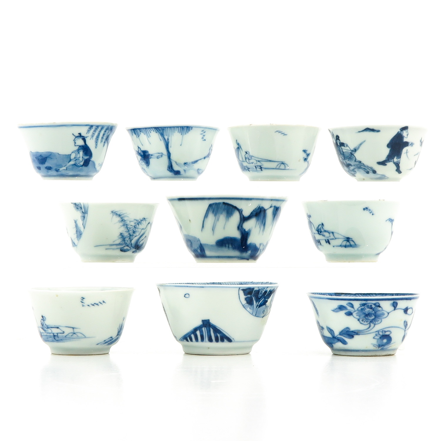 A Collection of 10 Blue and White Cups - Image 2 of 10