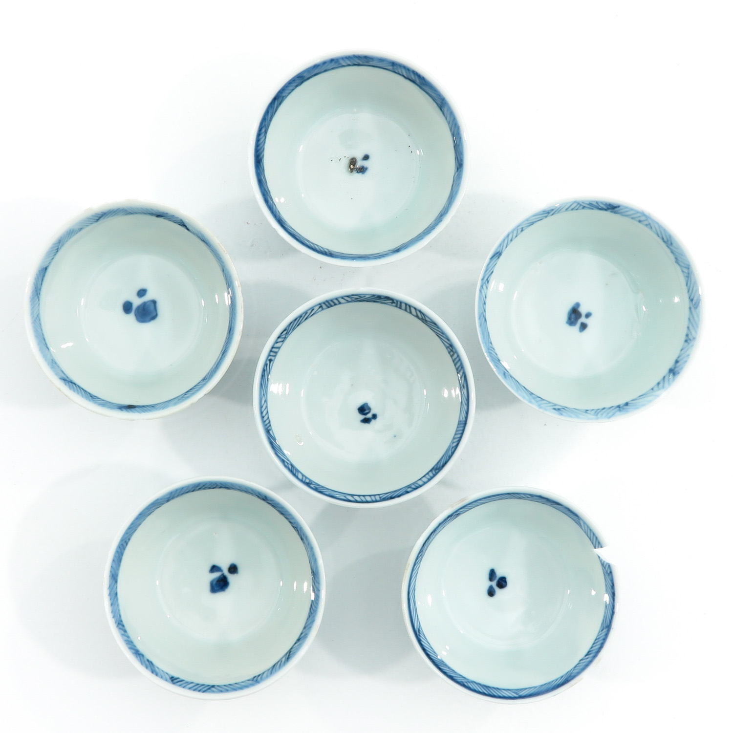 A Series of 6 Blue and White Cups - Image 5 of 9