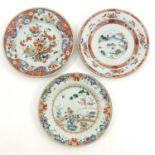 A Lot of 3 Polychrome Decor Plates