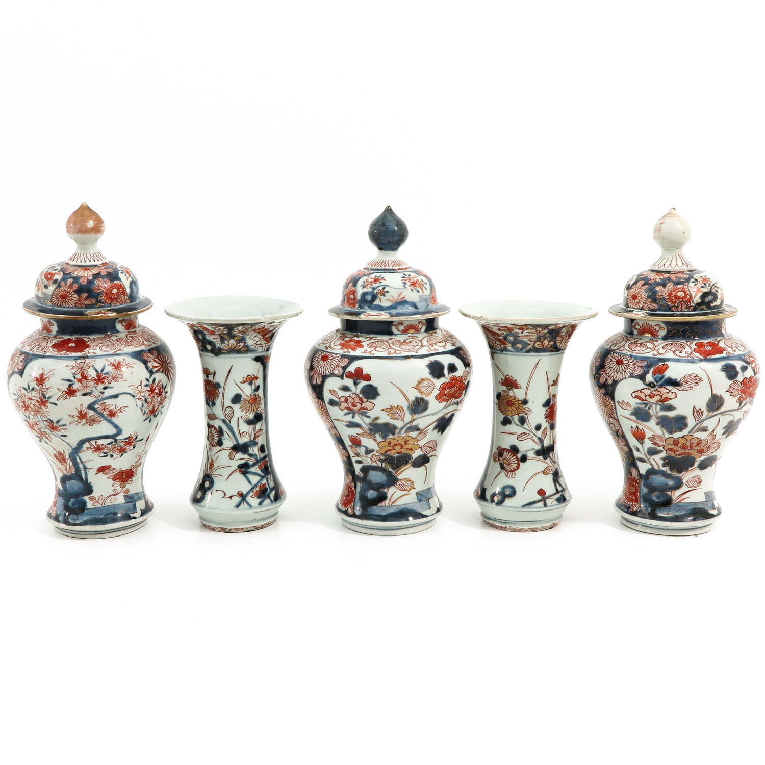 A 5 Piece Imari Garniture Set