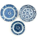 A Set of 3 Blue and White Plates