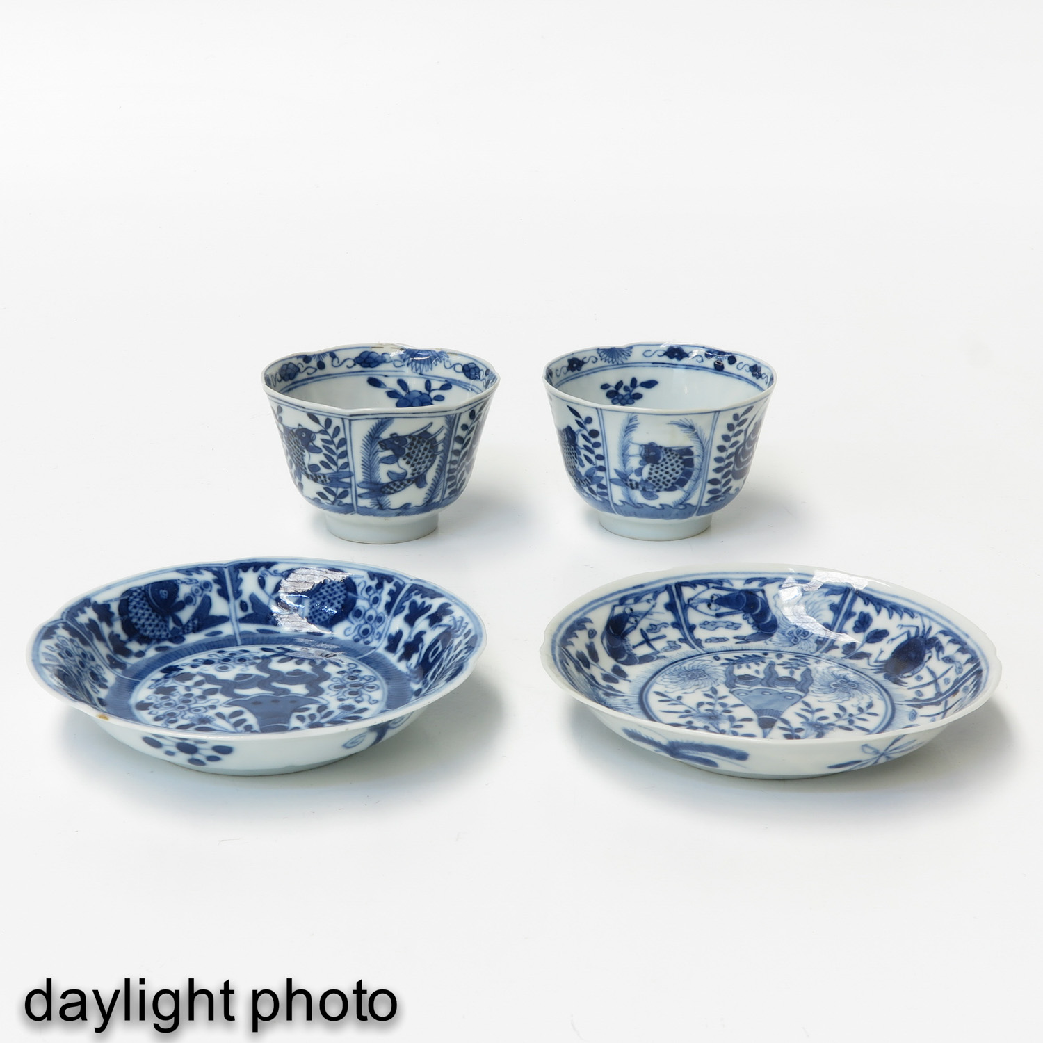 A Pair of Blue and White Cups and Saucers - Image 7 of 9