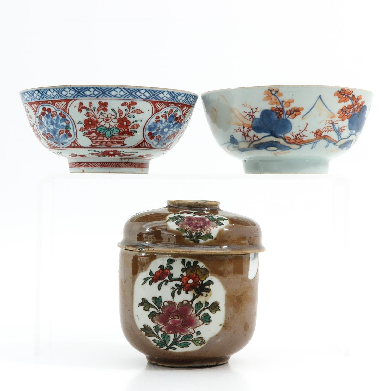 A Batavianware Jar and 2 Bowls - Image 4 of 9