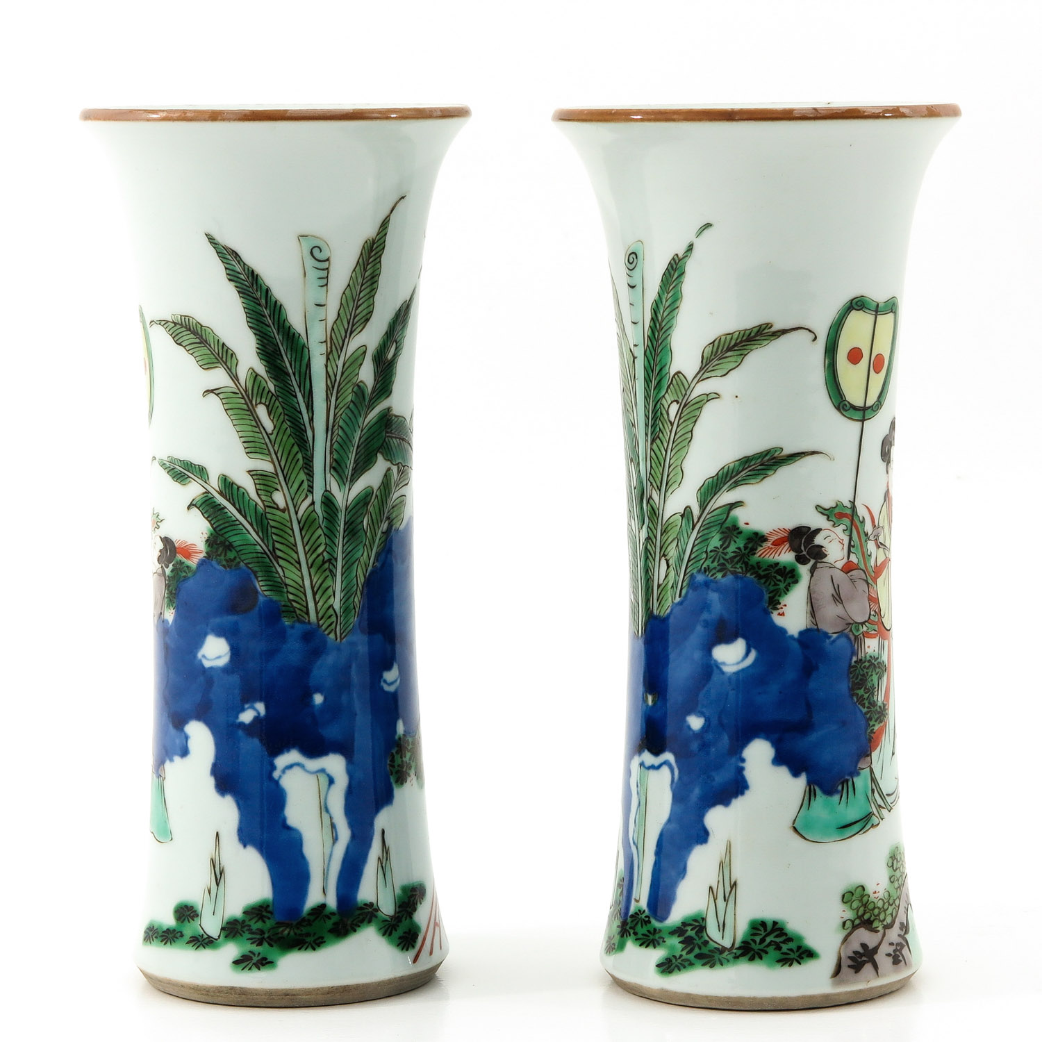 A Pair of Famile Verte Vases - Image 3 of 9