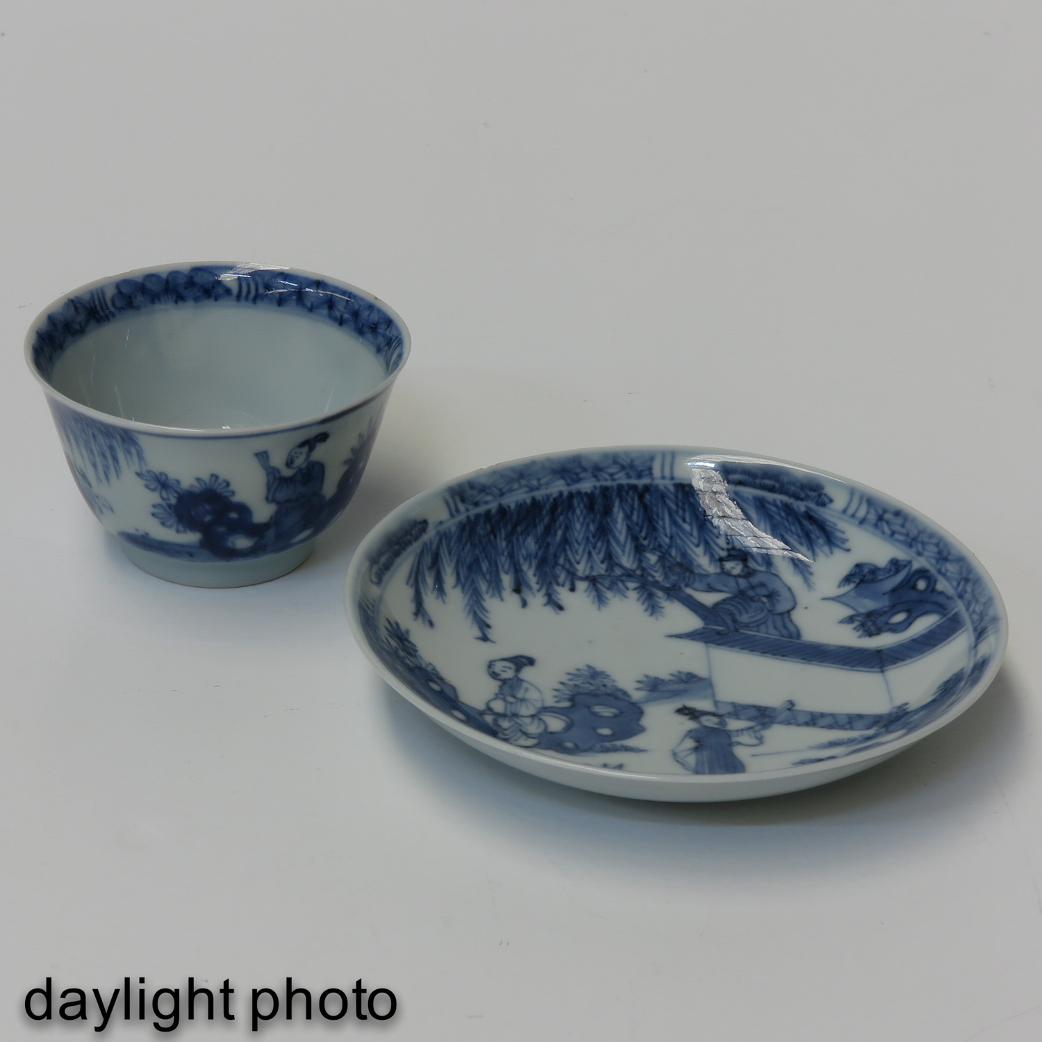 A Blue and White Cup and Saucer - Image 7 of 10