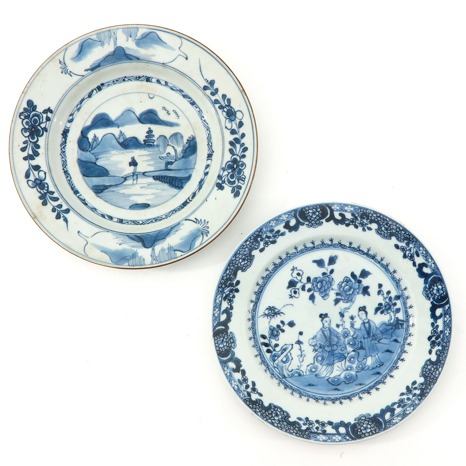 A Collection of 4 Blue and White Plates - Image 3 of 10
