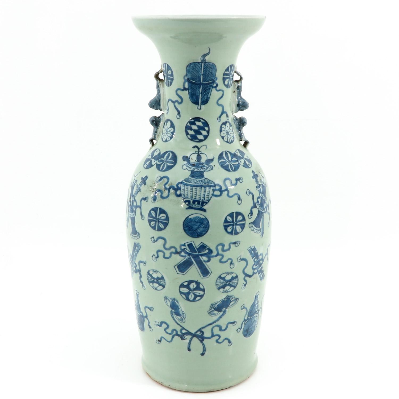 A Celadon and Blue Vase