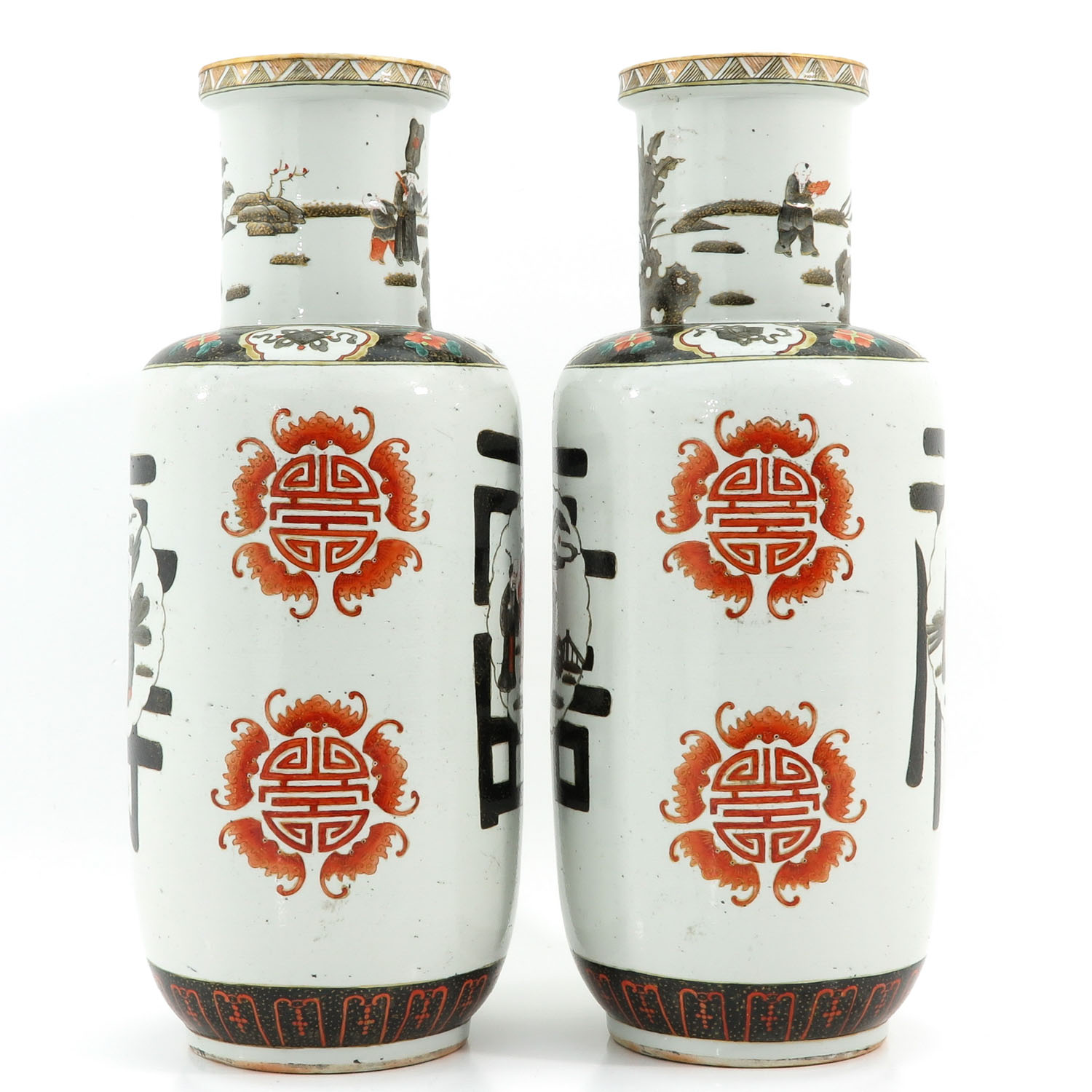 A Pair of Polychrome Decor Vases - Image 4 of 10
