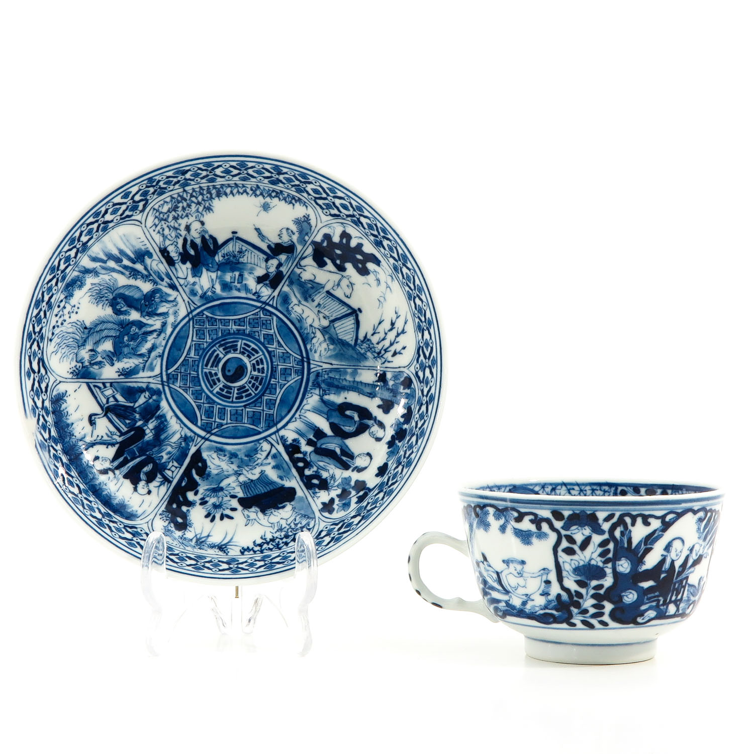 A Blue and White Cup and Saucer - Image 3 of 9