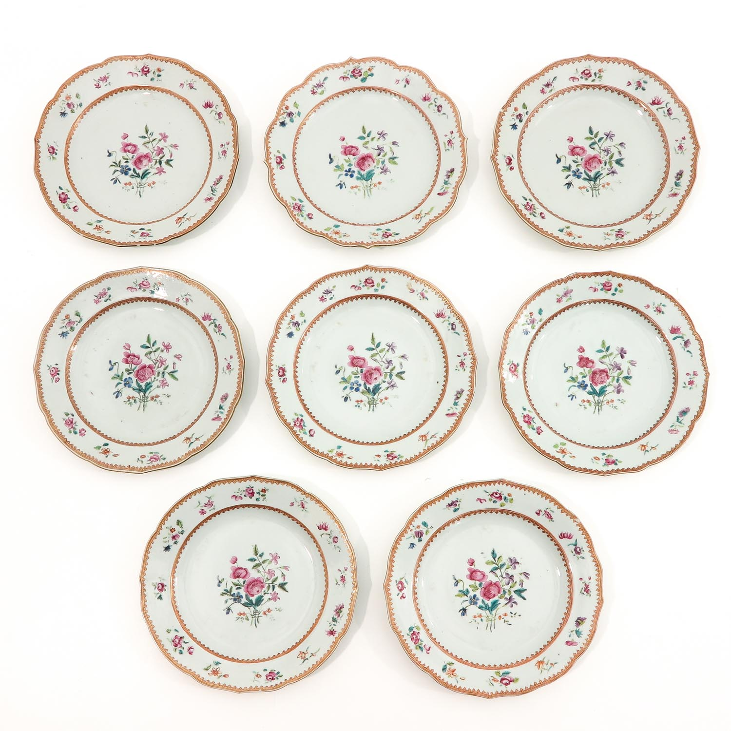 A Series of 8 Famille Rose Plates